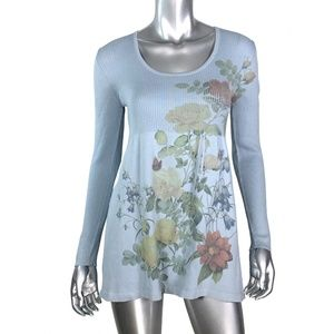 One World Blue Floral Print Knit Tops Medium